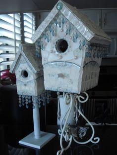~ broken china mosaic birdhouses