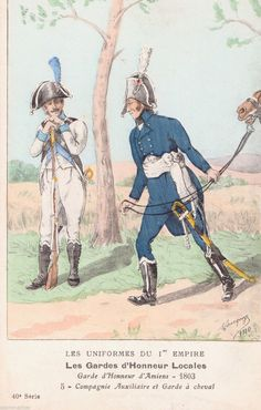 French Military Uniforms Garde D'Honneur D'Amiens 1803 OLD Postcard Unposted | eBay