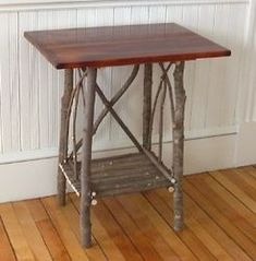 twig side table - Twig Furniture - Wyman Way Co-op Hickory Furniture, Primitive Furniture, Country Furniture, Wood Furniture, Willow Furniture, Fairy Furniture, Recycled Furniture, Twigs Decor, Tree Chair