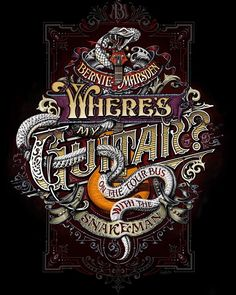 Bernie Marsden - Where's My Guitar, Book Cover - David Smith - Traditional Ornamental Glass Artist Creative Typography Design, Lettering Design, Logo Design, Graphic Design, Vector Design, Vintage Typography, Typography Letters, Typography Logo, Crayons Pastel