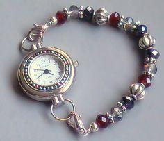 Red, White and Silver Single Strand Beaded Bracelet Watch, Stretchy | sassylu - Jewelry on ArtFire
