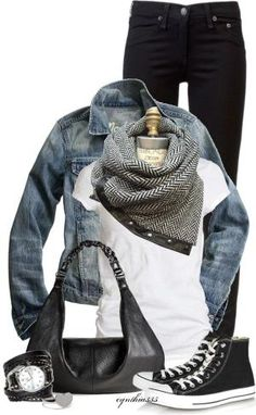 love the scarf_ Black jeans, black converse, white shirt, chevron scarf, jean jacket, silver jewelry by Ana9