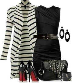 Simple outfit for any occasion. Love the long striped sweater #comfy