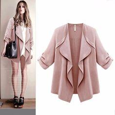 8e5944fd7dd New Women Autumn Spring Solid Long Sleeve Loose Plus Coat Cardigan Casaco feminino  coat female jacket