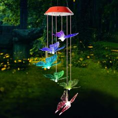Butterflies Color Changing Solar Mobile Butterfly Wind Chime, Solar Wind Chimes, Butterfly Lighting, Butterflies Flying, Patio Lighting, Outdoor Settings, Solar Lights, Dream Garden, Led Lamp