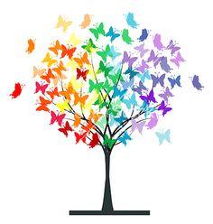 Butterflies rainbow tree vector 1353868 - by hibrida13 on VectorStock®