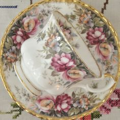 Royal Albert tea cup and saucer, autumn roses pattern by VieuxCharmes on Etsy