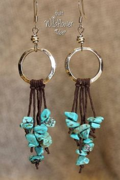 These beautiful earrings are made using 20mm Hammered Silver Metal Rings, Small Silver Plated Beads, Brown Hemp Cord and Faux Turquoise Nugget