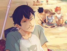 Hinata, start running. | by Viria | Kageyama & Hinata | Beach Time with the Buds | Haikyuu!! | Anime