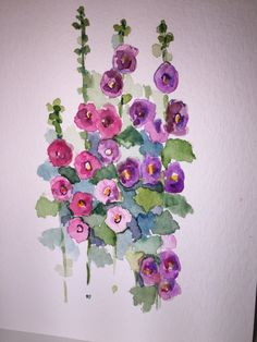 Hollyhock Watercolor Flowers Card / Hand Painted by gardenblooms