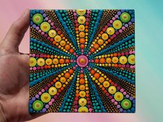 Art by Kaila Lance, Dot Mandala, Dot Painting, Mandala Art, Sacred Geometry Art, Painted Stones, Mandala Stones, Meditation Stones, KailasCanvas.Etsy.com