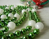 "Vintage Christmas Green Glass Garland Beads 90"" long"