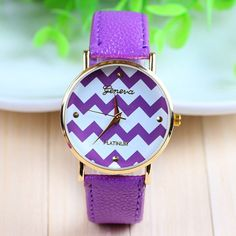 Zig-Zag Stripe Ladies Geneva Quartz Watch (10 Colors)