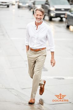 Khaki pants and a white button-up shirt are an iconic menswear combination. What keeps this look fresh instead of boring? The perfect fit. For a casual but put-together look, he can't go wrong with a relaxed shirt tucked into the perfect flat-front Dockers easy khakis. Best of all? They have stretch for performance, so they'll be comfortable from day to night. Get new spring style for him at Kohl's.