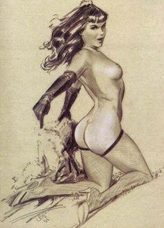 •••• GALERIE •••• Hommage à Betty Page, la plus connue des pin-up, à travers une très large sélection de dessin. C'est à découvrir sur Etranges Images. Dessin de Jim Silke.