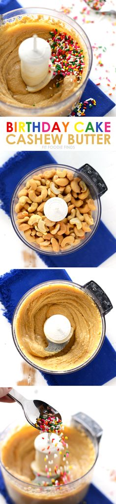 Get festive with your homemade nut butter recipe and make this birthday cake cashew butter for your bestie's next birthday (or your own)! It's best eaten with a spoon.