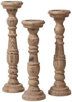 Natural Aged Wood Candle Holders - Set of 3 - Candleholders - Candle Holders - Pillar Candles - Candle Sconces - Home Accents   HomeDecorators.com