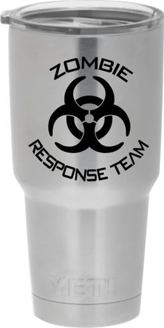"""Show everyone that you are on the """"Zombie Response Team"""" with this decal / sticker for Yeti Rambler / Ozark Trail / RTIC / Orca Chaser tumblers. This decal is made with premium outdoor sign vinyl with"""