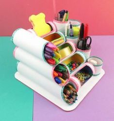 MINI ORGANIZER mit Rollen Toilettenpapier oder Küche – Fotoliste Diy Paper Crafts diy crafts out of toilet paper rolls Kids Crafts, Diy Home Crafts, Easy Crafts, Recycler Diy, Diy Para A Casa, Diy Love, Papier Diy, Diy Y Manualidades, Art Diy