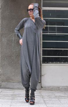 Extra Long Sleeves Grey Jumpsuit Cotton Union Suit por EUGfashion