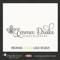 Premade Photography Logo Design Fleur De Lis Design Photographer Small Business Logo Design. $35.00, via Etsy.