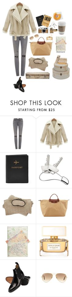 """""""travel"""" by marthamae ❤ liked on Polyvore featuring Frame, FOSSIL, Georg Jensen, WALL, Sofiacashmere, Hermès, Pieces, Longchamp, Cavallini & Co. and Givenchy"""