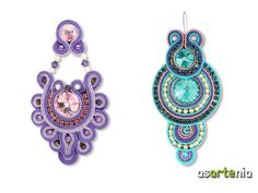Soutache Pendant, Soutache Earrings, Beaded Earrings, Crochet Earrings, Soutache Tutorial, Earring Trends, Button Crafts, Clay Jewelry, Beaded Embroidery