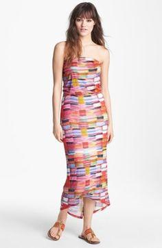Velvet strapless maxi dress