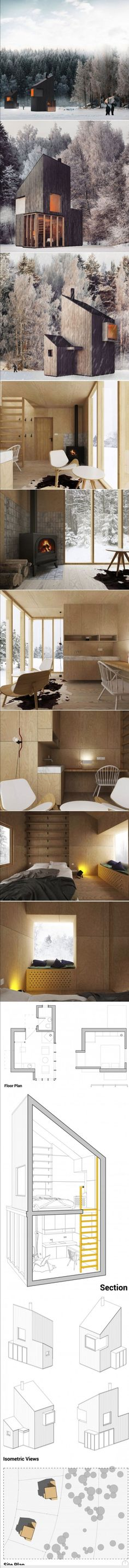 A Modern Winter Shelter by FO4A Architecture  Armin Mešic, principal of FO4A Architecture, designed this modern wooden shelter to serve as a ski hut or a weekend retreat.  With a floor area of 258 square feet (24sqm), it is to be built on Bjelašnica, a mountain in central Bosnia and Herzegovina