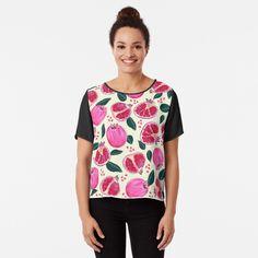 'pomegranates' Chiffon Top by Nici-Gabriel Sweat Shirt, Gabriel, Tropical Girl, Beach Print, Black Feathers, Vintage Floral, Top Vintage, Chiffon Tops, People