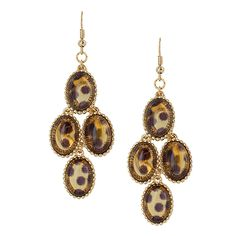 Oval Stones Drop Cascade Earrings [EYPWE1021GDBR] : Wholesale24x7.com - Fashion Scarves and Accessories Wholesale, One Stop Wholesale Shopping for Scarves, Jewelry and Fashion Accessories!