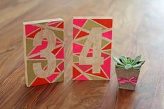 DIY or DIE: Modern Geometric Table Numbers -- Make these awesome, colorful table number blocks for your wedding!