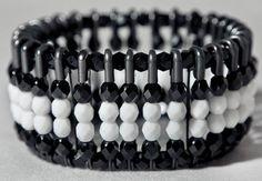 """mavis"" black safety pin bracelet w/black & white czech glass beads"