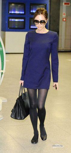 Victoria Beckham, ballet flats at the airport