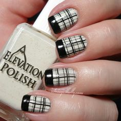39 Awesome Plaid Nail Art Designs for Your Preppy Days . Plaid Nail Designs, Plaid Nail Art, Plaid Nails, Fall Nail Designs, Nail Polish Designs, Gel Polish, Hot Nails, Hair And Nails, Black And White Nail Designs