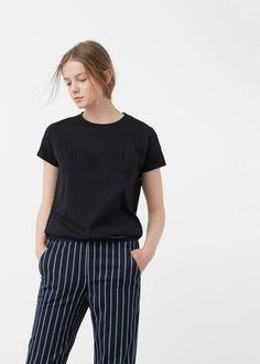 T-shirt algodão relevo   MANGO
