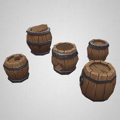 Low Poly Barrel n Fence Set Terrain Texture, Game Assets, 3d Assets, Paint Games, Cartoon House, Hand Painted Textures, Prop Design, Game Design, Patterns