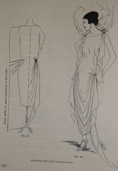ABC in Dressmaking from 1923 Easy Great Gatsby Design for Beginners - Pattern making book. – Interesting pattern for a dress - 1920s Dress Pattern, Vintage Dress Patterns, Clothing Patterns, Shirt Patterns, Pattern Making Books, Style Année 20, 1920s Style, Sewing Crafts, Sewing Projects