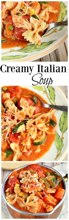 A creamy Italian soup with rotisserie chicken, pasta, and veggies.