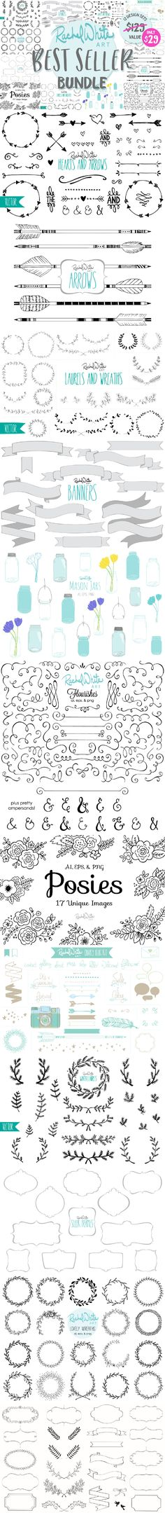 My Best Seller Bundle includes 12 of my most popular design sets. A $129 dollar value! There are frames, banners, flourishes, laurels, and wreaths of all kinds. Florals, text dividers, ornaments, hearts, arrows, and mason jars. Everything you may need for a variety of design projects. You'll always find something useful in here.  Introductory price of $29 dollars. A $100 savings! Yay!