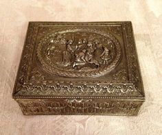 Silver Ornate Metal Trinket Box VIntage Jewelry by DartmouthHill