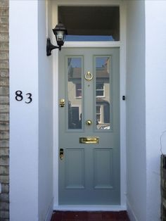 New Victorian Front Door Furniture Farrow Ball Ideas Farrow And Ball Front Door Colours, Gray Front Door Colors, Green Front Doors, Exterior Front Doors, Painted Front Doors, Exterior Paint, Exterior Shutters, Best Front Doors, Beautiful Front Doors