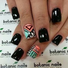 Aztec Nails- instead of full black on the majority of my nails, I'd like full white or another color in the design. Get Nails, Fancy Nails, Love Nails, How To Do Nails, Fabulous Nails, Gorgeous Nails, Pretty Nails, Perfect Nails, Aztec Nail Art