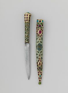 Knife and sheath, 18th c., India, silver-gilt, enameled and set with rubies over foil and turquoise