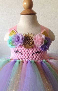 Beautiful baby girl first birthday unicorn theme tutu dress Princess Tutu Dresses, Flower Girl Dresses, Toddler Fairy Costume, Tutu Skirt Kids, Diy Lace Ribbon Flowers, Baby Girl Tutu, Unicorn Dress, Baby Girl First Birthday, Beautiful Baby Girl