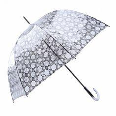 Paraguas transparente largo estampado círculos