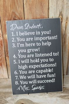 Dear Student Sign Expectations and Classroom Decor