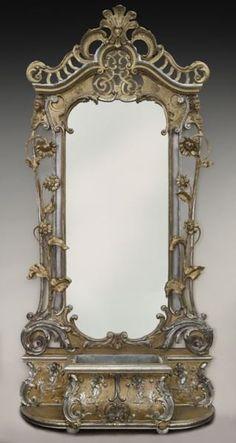 Antique rococo style silver/gold gilt pier mirror, : Lot 263