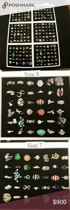 Ring trays ALL Sizes Costume Jewelry Rings Start sellings rings the day you receive them.  You will receive a tray of each size ( the following sizes 5, 6,7,8,9 and 10 ) 36 of each size is included with the tray completely set up. They retail for up to $14.00 each. I sell them for $10.00 each and they sell great. You will receive a mixture of rings in a tray so styles will vary. This is great investment and it averages out to only $3.85 a ring. Trays are included with the package  The price…