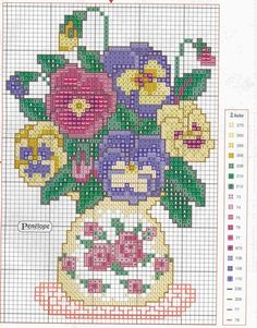 flowers 2ibf Free Cross Stitch Pattern Vase with Roses on It is Filled with Pansies